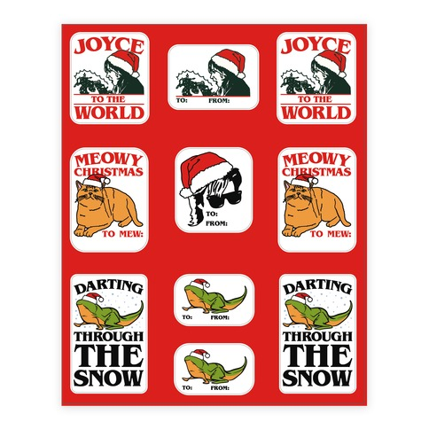 Stranger Holiday Gift Tags Parody Sticker/Decal Sheet