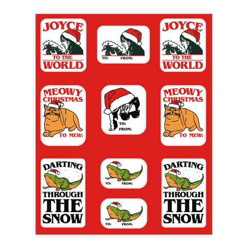 Stranger Holiday Gift Tags Parody Sticker and Decal Sheet