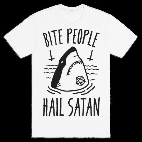 Bite People Hail Satan - Shark Mens T-Shirt