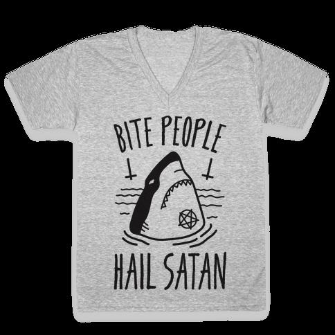 Bite People Hail Satan - Shark V-Neck Tee Shirt
