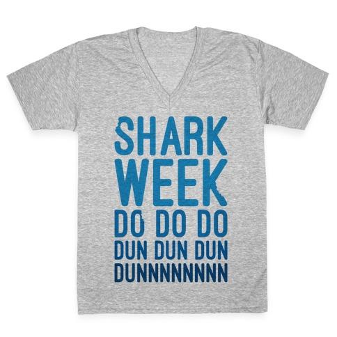 Shark Week Do Do Do Dun Dun Dun Jaws Parody V-Neck Tee Shirt