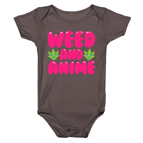 Weed And Anime White Print Baby One-Piece