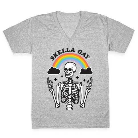 Skella Gay Skeleton V-Neck Tee Shirt