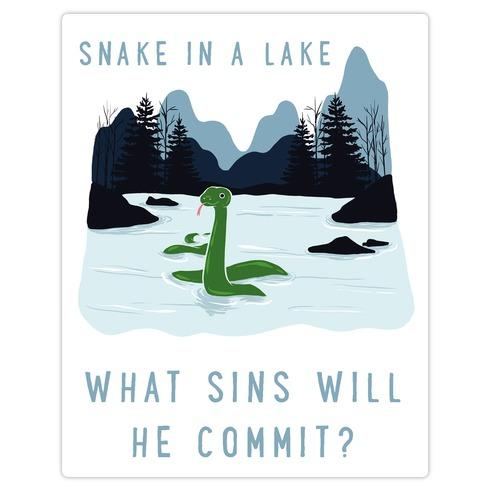 Snake In a Lake Die Cut Sticker