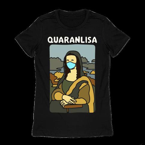 Quaranlisa Parody White Print Womens T-Shirt