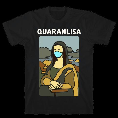Quaranlisa Parody White Print Mens/Unisex T-Shirt