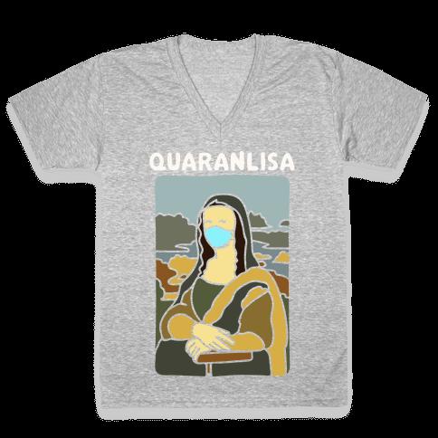 Quaranlisa Parody White Print V-Neck Tee Shirt