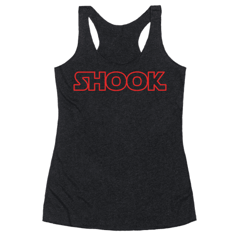 Shook Parody White Print Racerback Tank Top