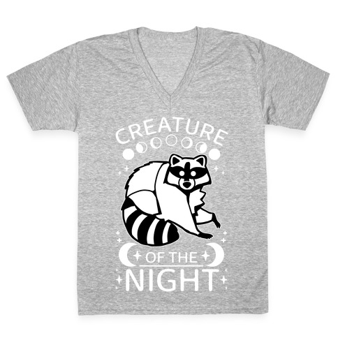 Creature Of The Night Raccoon V-Neck Tee Shirt