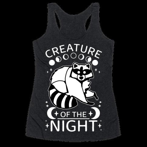 Creature Of The Night Raccoon Racerback Tank Top