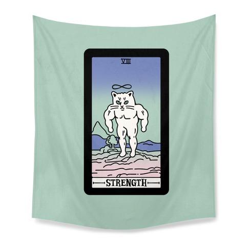 Strength Cat Meme Tarot Card Tapestry
