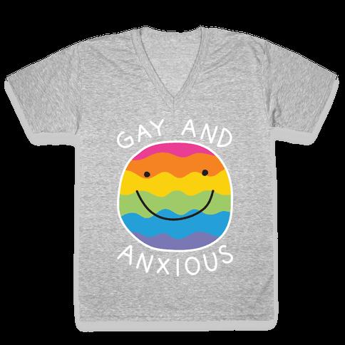 Gay And Anxious V-Neck Tee Shirt