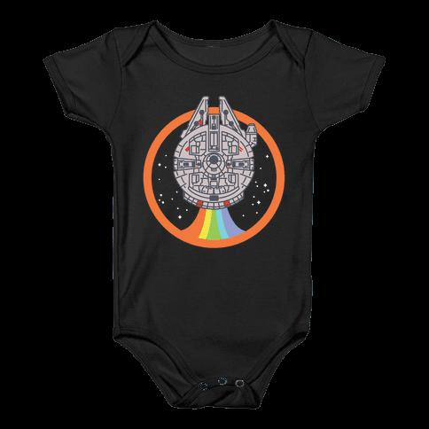 Retro Rainbow Falcon Baby Onesy