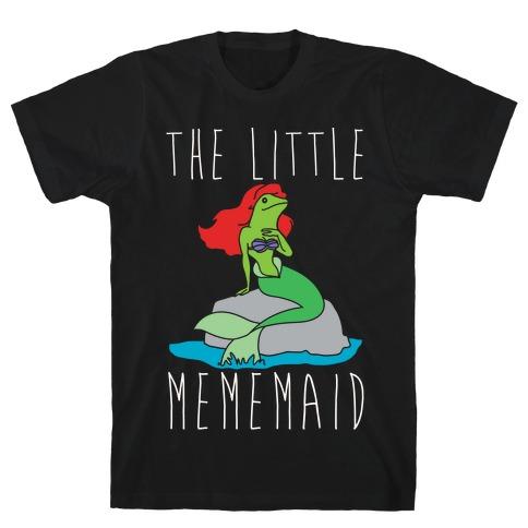 The Little Mememaid Parody White Print Mens T-Shirt
