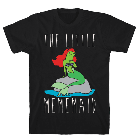The Little Mememaid Parody White Print Mens T-Shirt