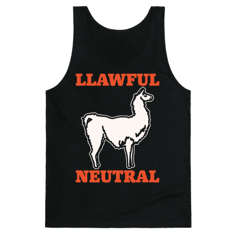 Llawful Neutral Llama Parody White Print Tank Top