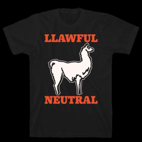 Llawful Neutral Llama Parody White Print Mens T-Shirt