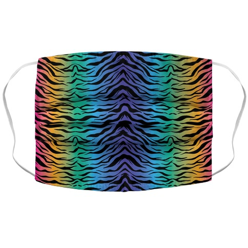 Tiger Stripe Rainbow 90s Pattern Accordion Face Mask