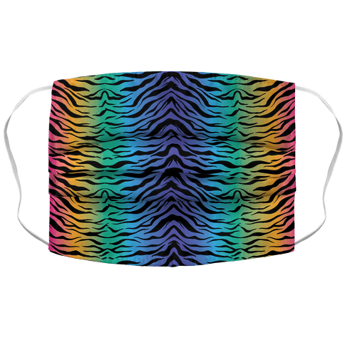 Tiger Stripe Rainbow 90s Pattern Face Mask Cover