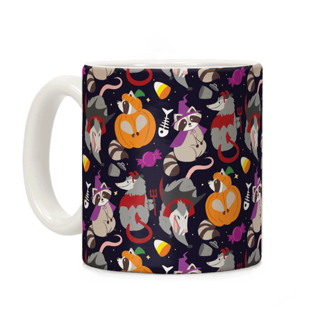 Trashy Animals Halloween Pattern Coffee Mug