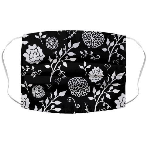 Black Floral Pattern Accordion Face Mask