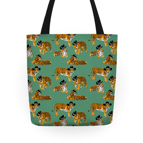 Tigers in Cowboy Hat Pattern Tote