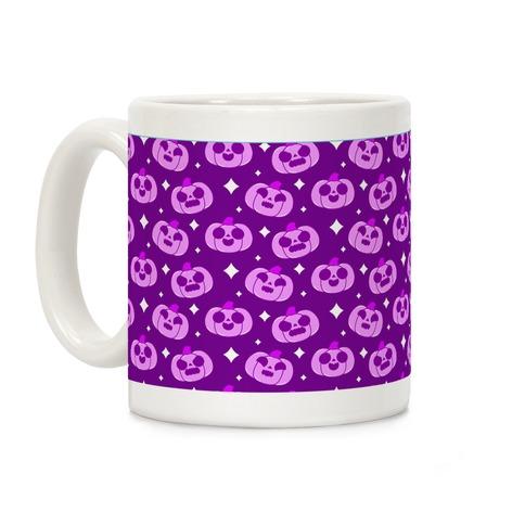 Kawaii Pumpkins Pattern Purple Coffee Mug