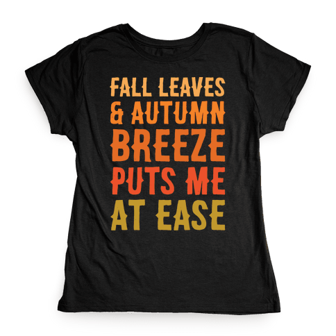 Fall Leaves & Autumn Breeze White Print Womens T-Shirt