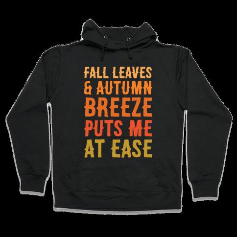 Fall Leaves & Autumn Breeze White Print Hooded Sweatshirt