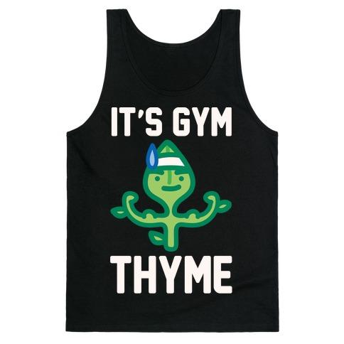 It's Gym Thyme White Print Tank Top