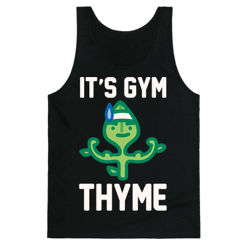 It's Gym Thyme White Print Tank Top
