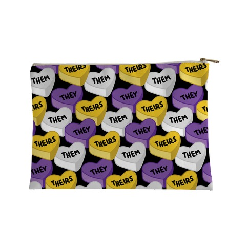 Nonbinary Pronoun Candy Hearts Accessory Bag