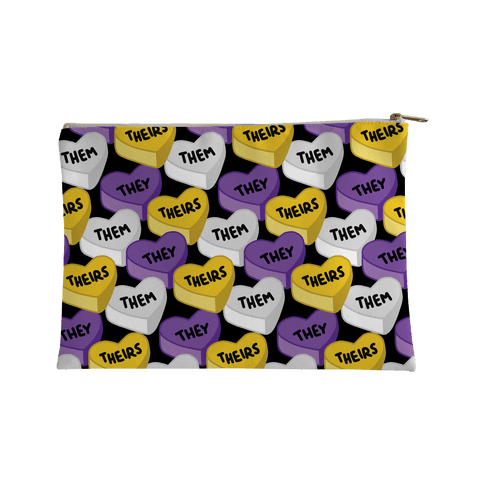 Nonbinary Pronoun Candy Hearts Accessory Bag