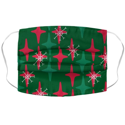 Retro Christmas Sparkle Pattern Accordion Face Mask