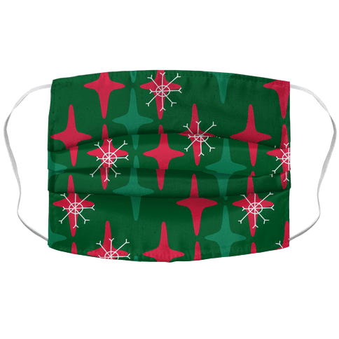 Retro Christmas Sparkle Pattern Accordion Face Mask