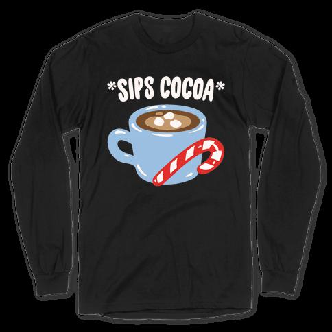 Sips Cocoa White Print Long Sleeve T-Shirt