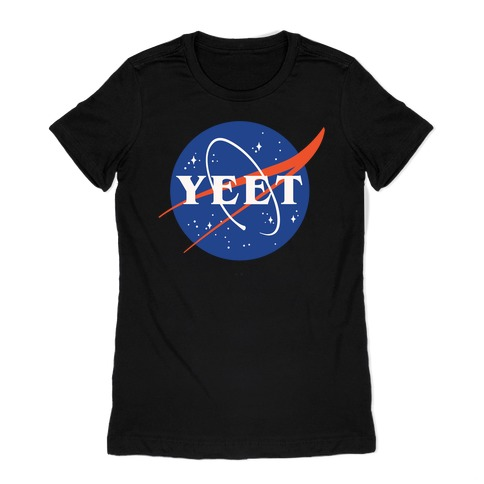 Yeet Nasa Logo Parody White Print Womens T-Shirt