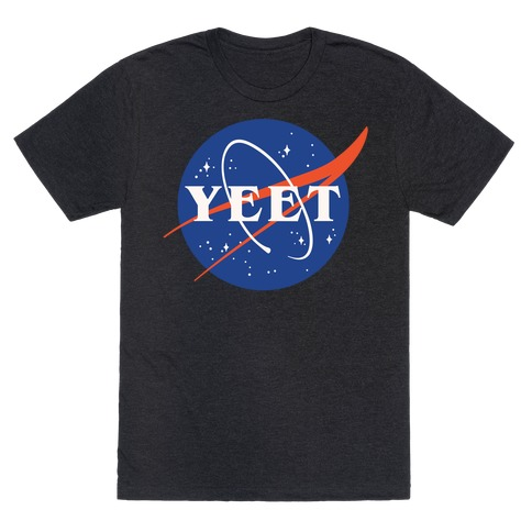 Yeet Nasa Logo Parody White Print T-Shirt