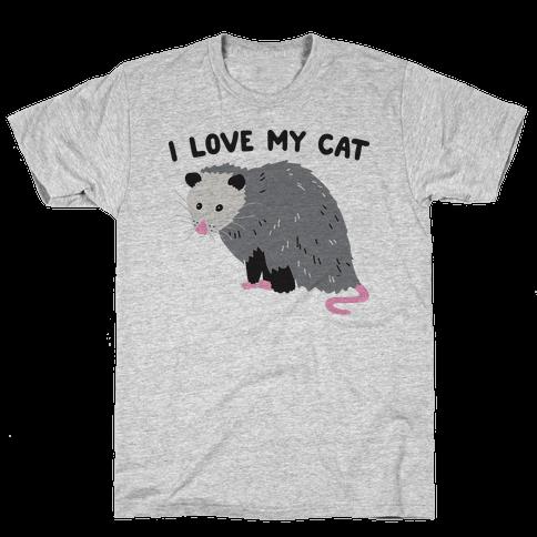 I Love My Cat Opossum Mens T-Shirt