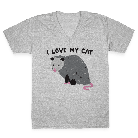 I Love My Cat Opossum V-Neck Tee Shirt