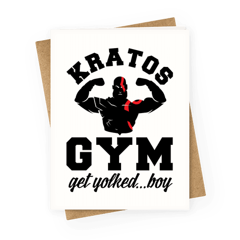 Kratos Gym Get Yolked Boy Greeting Card