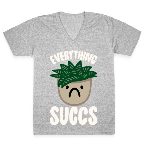 Everything Succs White Print V-Neck Tee Shirt