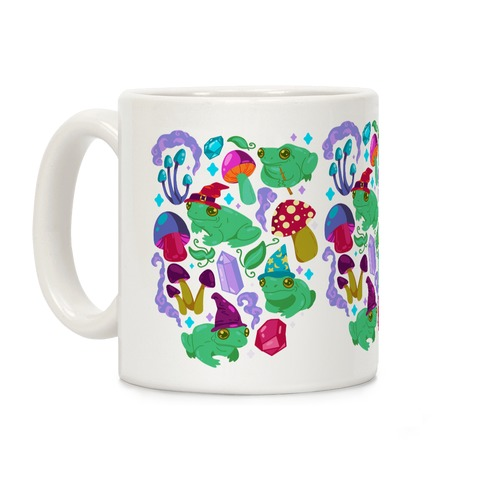 Magical Mushroom Frogs Pattern Coffee Mug