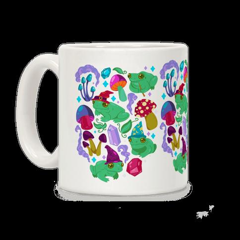 Magical Mushroom Frogs Pattern Coffee Mug
