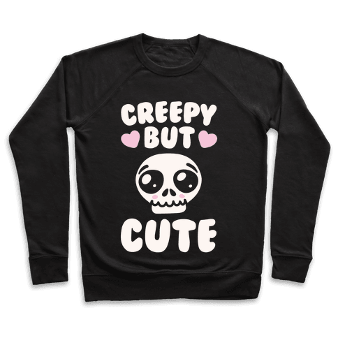 Creepy But Cute White Print Pullover