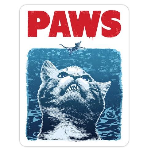 PAWS (Jaws Parody tee) Die Cut Sticker