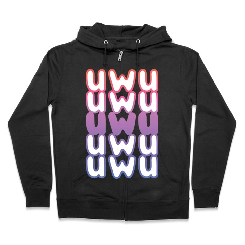 UWU Anime Emoticon Face Zip Hoodie