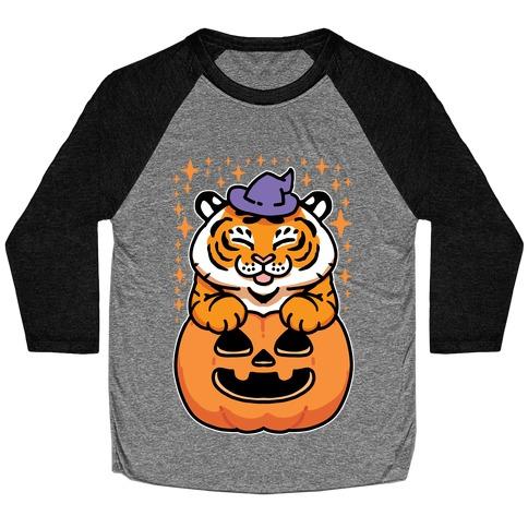 Cute Halloween Tiger Baseball Tee