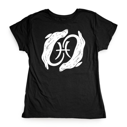 Otterly Emotional Pisces White Print Womens T-Shirt