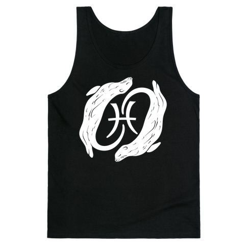 Otterly Emotional Pisces White Print Tank Top